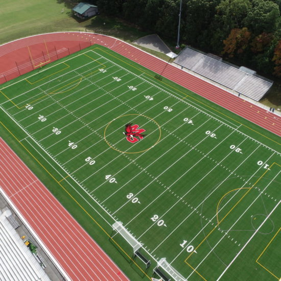 mills godwin high school track and field aerial view